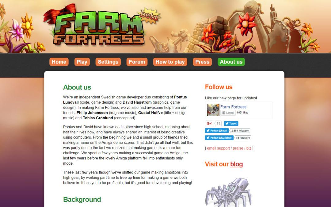 Farm Fortress hemsida